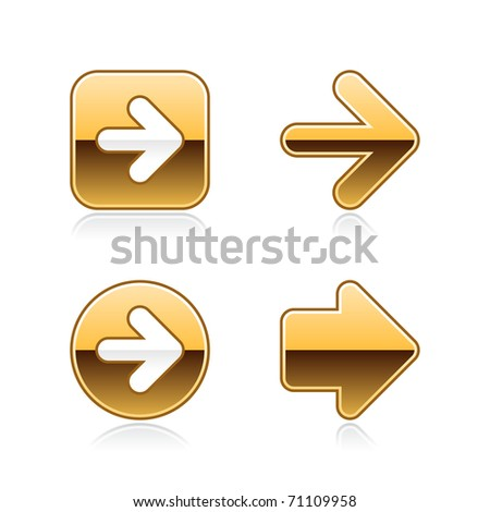 Gold metal arrow web buttons with gray reflection on white