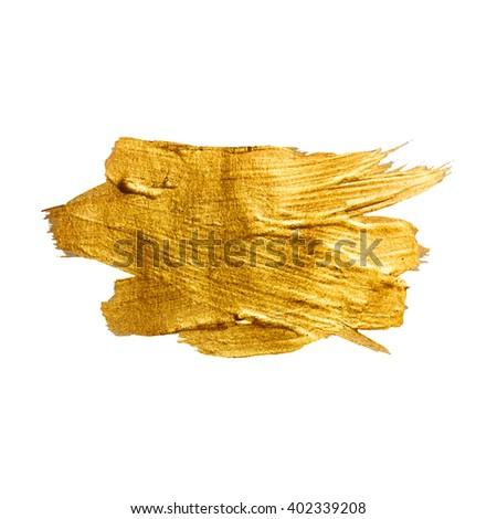 Gold Metal Foil Glitter Brush Stroke. Golden Stroke Vector Design Illustration. Foil Shiny template. Pearl Gloss Design. Watercolor Metallic Paint Texture  #402339208