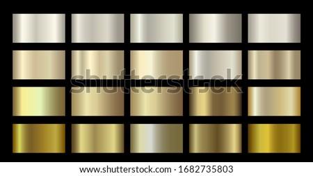 Gold Metallic, bronze, silver, chrome, copper metal foil texture gradient template. Vector Golden swatch set. Vector Metallic gold gradient illustration gradation for banner, web, flyers digital