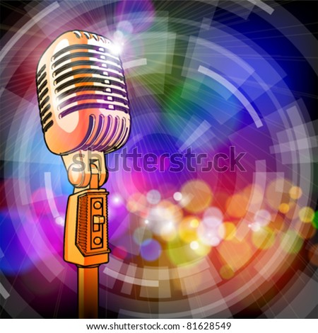 Gold microphone in the light colored lights