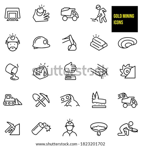 Gold Mining Thin Line Icons -  stock illustration. Miners mining, mine shaft, gold nugget, dump truck, worker working using shovel, worker wearing miners hat, hard hats, excavator, gold bars, pit mine