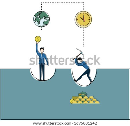 gold mining vector concept with