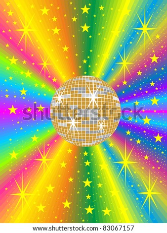 gold mirror ball with colored background