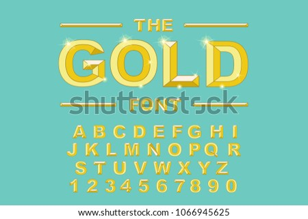 Gold Modern Bold Font And Alphabet Vintage Vector 80s 90s Old Style Graphic