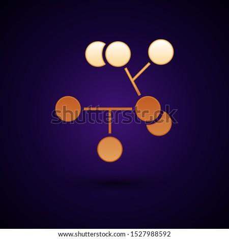 Gold Molecule icon isolated on dark blue background. Structure of molecules in chemistry, science teachers innovative educational poster.  Vector Illustration
