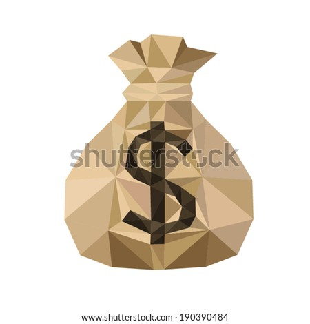Gold  Money Bag, by triangles, polygon vector illustration