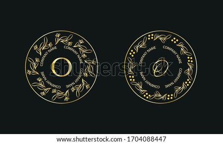 Gold monogram in round shape. Set of logos with letter O. Exquisite design for business signs, hotels, restaurants. Vector illustration