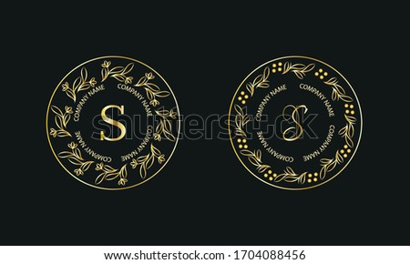 Gold monogram in round shape. Set of logos with letter S. Exquisite design for business signs, hotels, restaurants. Vector illustration