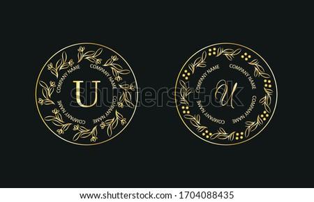 Gold monogram in round shape. Set of logos with letter U. Exquisite design for business signs, hotels, restaurants. Vector illustration