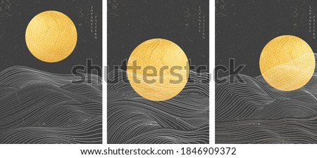 Gold moon texture and Japanese hand drawn wave pattern with abstract background vector. Curve element in oriental style.