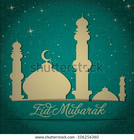"""Gold Mosque and stars """"Eid Mubarak"""" (Blessed Eid) card in vector format. - stock vector"""