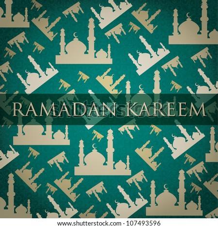 """Gold Mosque """"Ramadan Kareem"""" (Generous Ramadan) scatter card in vector format. - stock vector"""