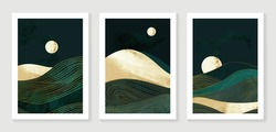 Gold mountain background vector. Mid century landscape art with sun and moon, Sea and Ocean. Modern contemporary art design for acrylic canvas , digital Prints, wallpaper, Poster, metal poster prints