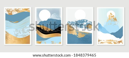 Gold Mountain wall art vector set. Earth tones landscapes backgrounds set with moon and sun.  Abstract Plant Art design for print, cover, wallpaper, Minimal and  natural wall art.