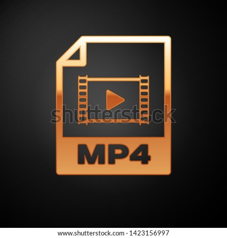 Gold MP4 file document icon. Download mp4 button icon isolated on black background. MP4 file symbol. Vector Illustration