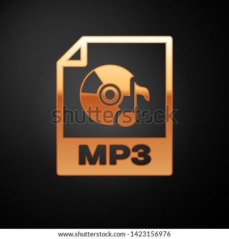 Gold MP3 file document icon. Download mp3 button icon isolated on black background. Mp3 music format sign. MP3 file symbol. Vector Illustration