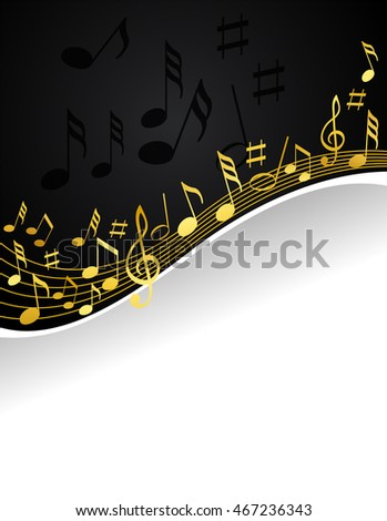 gold music notes on a solid