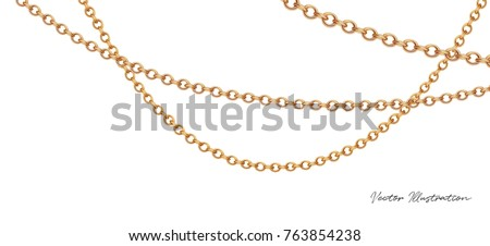 Gold necklace. Platinum chain with gem. Luxury brilliant jewelry pendant or coulomb on transparent background isolated vector illustration for ads, flyers, wed site sale elements design