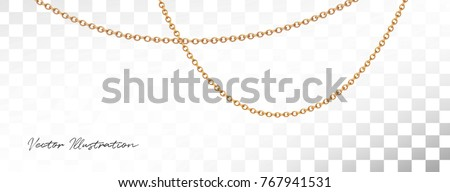 Gold necklace with diamond. Platinum chain with gem. Luxury brilliant jewelry pendant or coulomb on transparent background isolated vector illustration for ads, flyers, wed site sale elements design