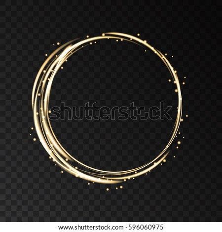 Gold neon round frame with lights effects isolated on black transparent background. Shining  golden  circle with magic glitter sparkles. Vector design element.