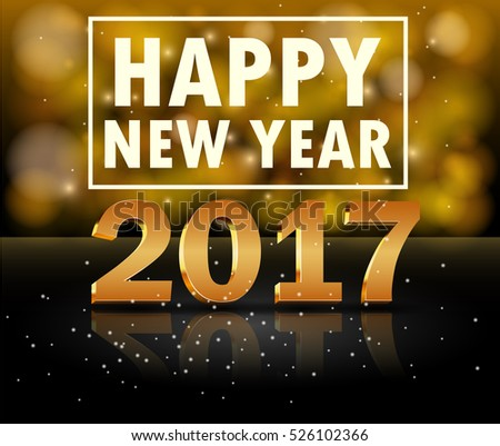 Gold New Year 2017 card. Happy New Year background with glowing effect and sparkling stars texture. Vector Illustration #526102366