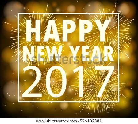 Gold New Year 2017 card. Happy New Year background with glowing effect and sparkling stars texture. Vector Illustration #526102381