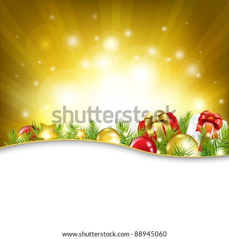 Gold New Year Card With Garland, Vector Illustration