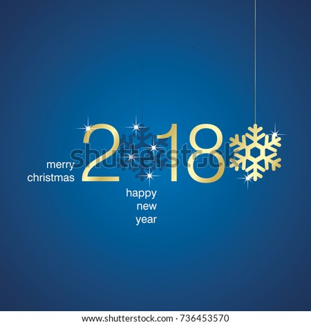 Gold 2018 New Year snowflakes blue background