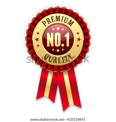 Shutterstock Gold no. 1 premium quality badge / rosette with red ribbon