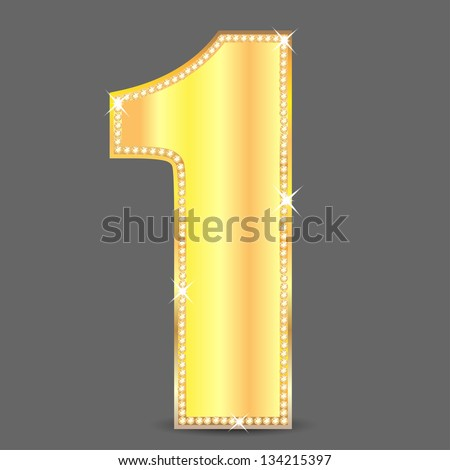 gold number one decorated by ablaze stones