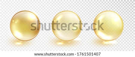 Gold oil bubble set isolated on transparent background. Vector realistic yellow serum droplet of drug or collagen essence. Vitamin translucent pill