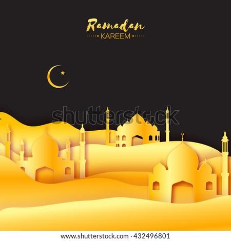 gold origami mosque ramadan