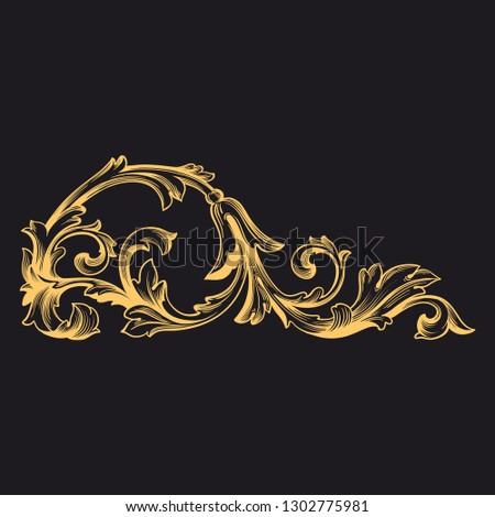 Gold ornament baroque style. Retro rococo decoration element with flourishes calligraphic. You can use for wedding decoration of greeting card and laser cutting.