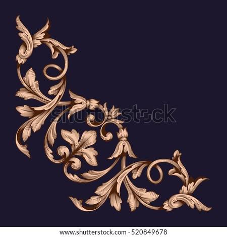 gold ornament corner vector.