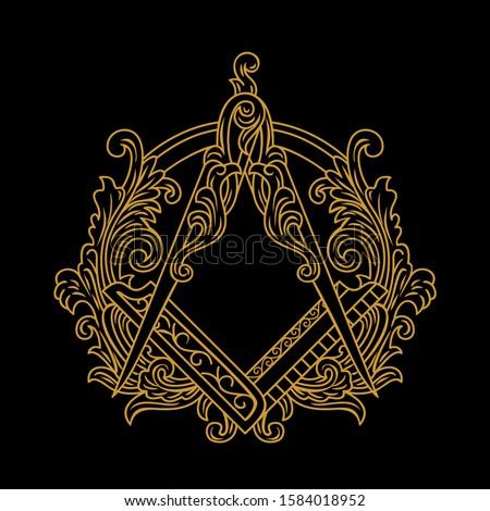 Gold Ornamental Freemason Square And Compass Symbol vector illustrations Stock photo ©