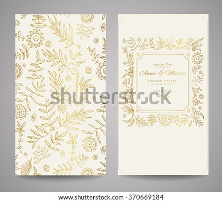 Gold ornate frame for invitations or announcements. Hand draw flowers