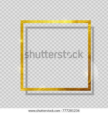 Gold Paint Glittering Textured Frame on Transparent Background. Vector Illustration EPS10