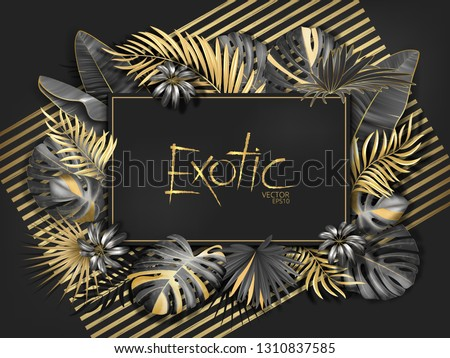 gold palm leaves pattern black