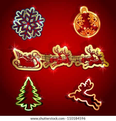 Gold paper Christmas icons, illustration.