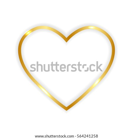 gold paper heart  isolated on
