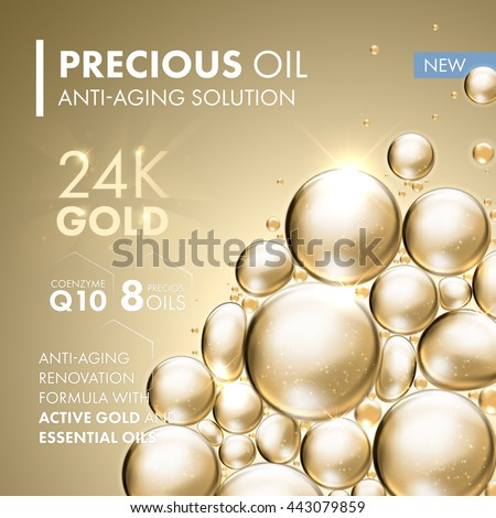 Gold pearl face mask anti-aging treatment solution. 24 Karat Gold oil bubbles on precious background.