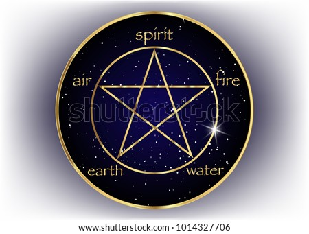gold pentagram icon with five