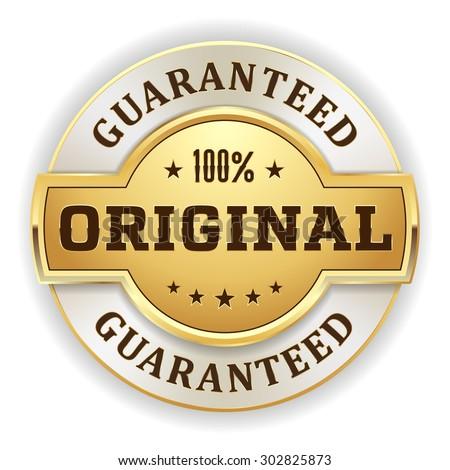 gold 100 percent original badge