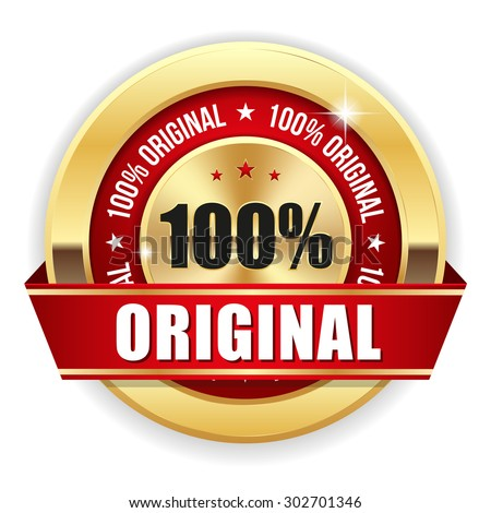 gold 100 percent original badge
