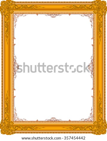 gold photo frame floral vector