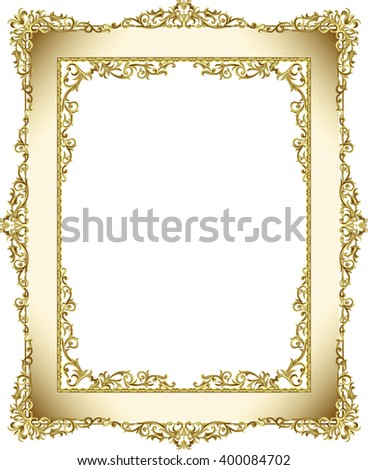 gold photo frame floral vector