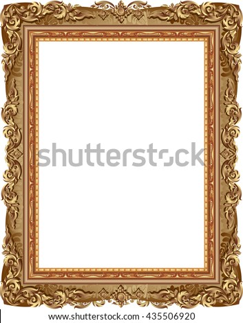Gold photo frame with corner line floral for picture, Vector border design decoration pattern style. Thai art golden metal beautiful