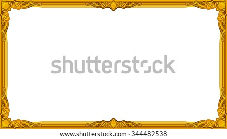 Gold Photo Frame With Corner Line Floral For Picture Vector Design Decoration Pattern Style
