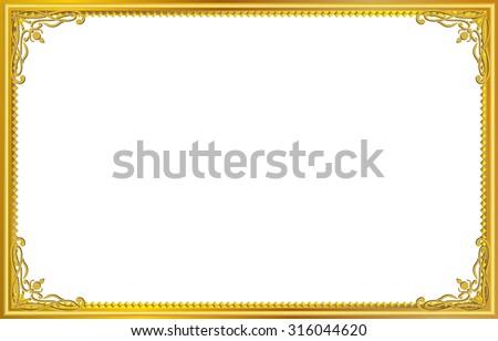 gold frame border transparent gold photo frame with corner thailand line floral for picture vector design decoration pattern style elegant frames download free art stock