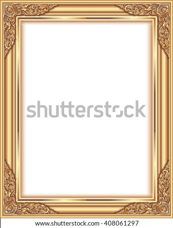 Gold photo frame with corner thailand line floral for picture, Vector design decoration pattern style.frame border design is pattern Thai style #408061297